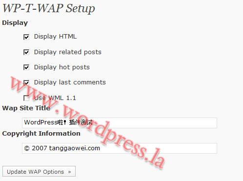 WordPress博客实现手机访问功能的插件WP-T-WAP