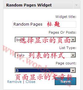 WordPress随机显示文章插件Random Pages Widget