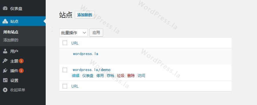 wordpress后台页面